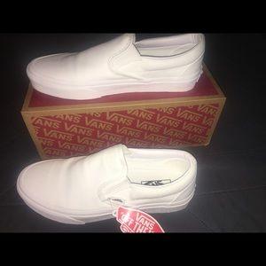 Vans Classic Slip-On True White Canvas Skate Shoes